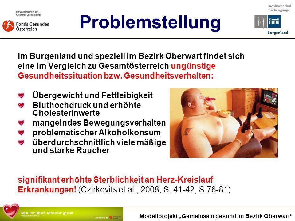 Modellprojekt Gemeinsam gesund im Bezirk Oberwart Problemstellung Im Burgenland und speziell im Bezirk Oberwart findet sich eine im Vergleich zu Gesam