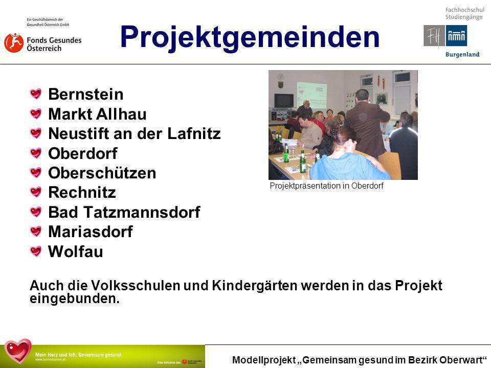 Modellprojekt Gemeinsam gesund im Bezirk Oberwart Projektgemeinden Bernstein Markt Allhau Neustift an der Lafnitz Oberdorf Oberschützen Rechnitz Bad T