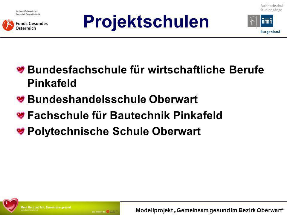 Modellprojekt Gemeinsam gesund im Bezirk Oberwart Projektschulen Bundesfachschule für wirtschaftliche Berufe Pinkafeld Bundeshandelsschule Oberwart Fa