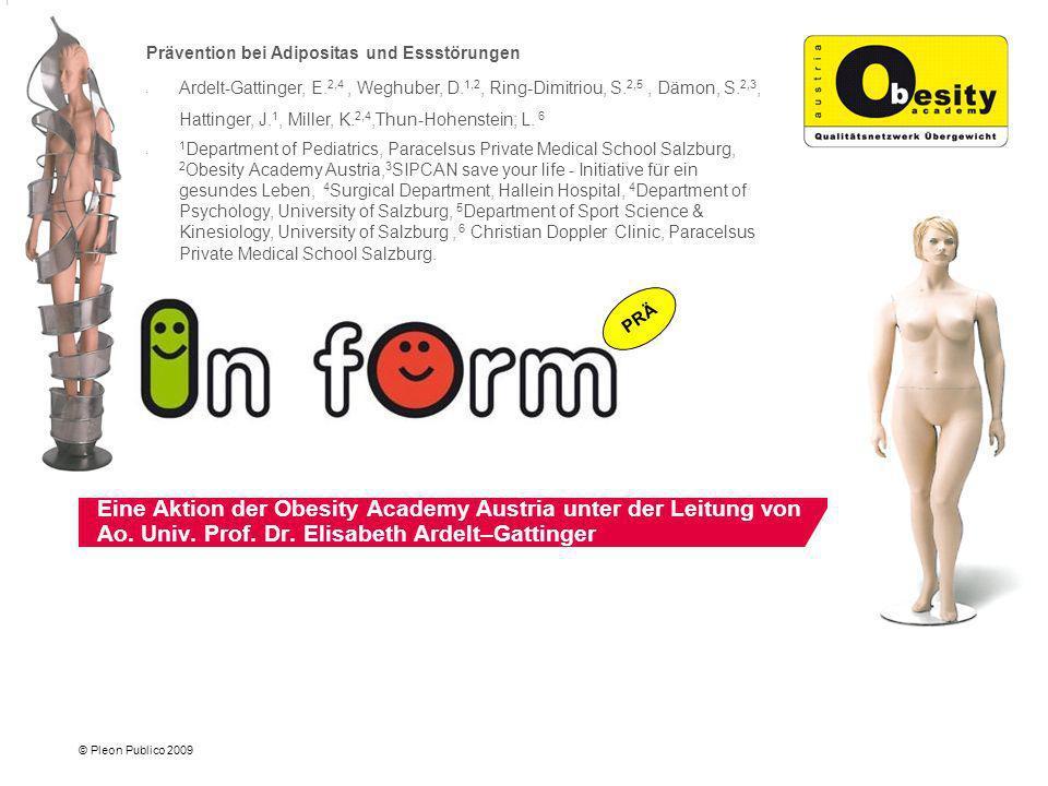 © Pleon Publico 2009 Ein Konzept zur – Bewusstseinsbildung über die Rolle falscher Vorbilder als Ursache für Essstörungen und Übergewicht und zur Unterstützung der Aktion: Prävention von Adipositas und Essstörungen.