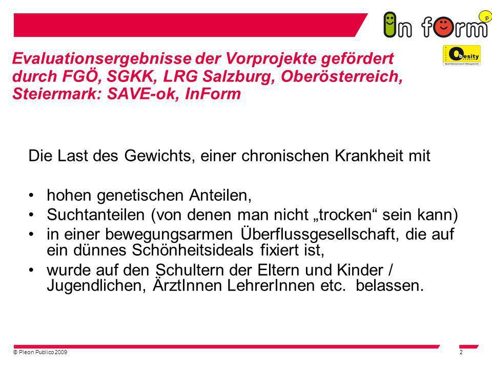 © Pleon Publico 20092 Evaluationsergebnisse der Vorprojekte gefördert durch FGÖ, SGKK, LRG Salzburg, Oberösterreich, Steiermark: SAVE-ok, InForm Die L