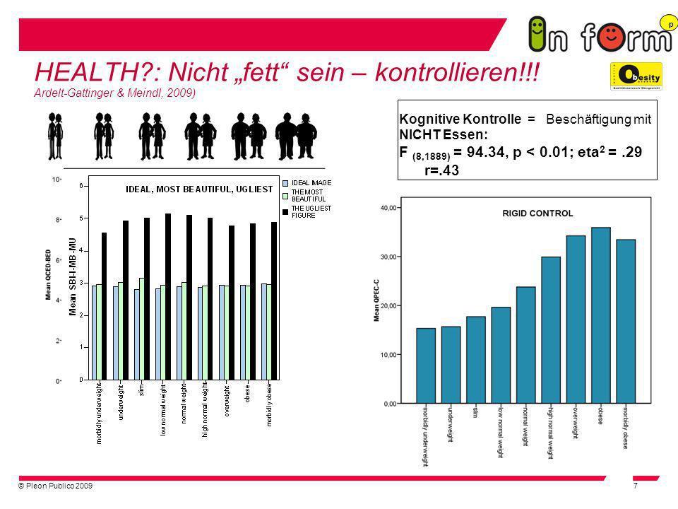 © Pleon Publico 20097 HEALTH?: Nicht fett sein – kontrollieren!!! Ardelt-Gattinger & Meindl, 2009) Kognitive Kontrolle = Beschäftigung mit NICHT Essen