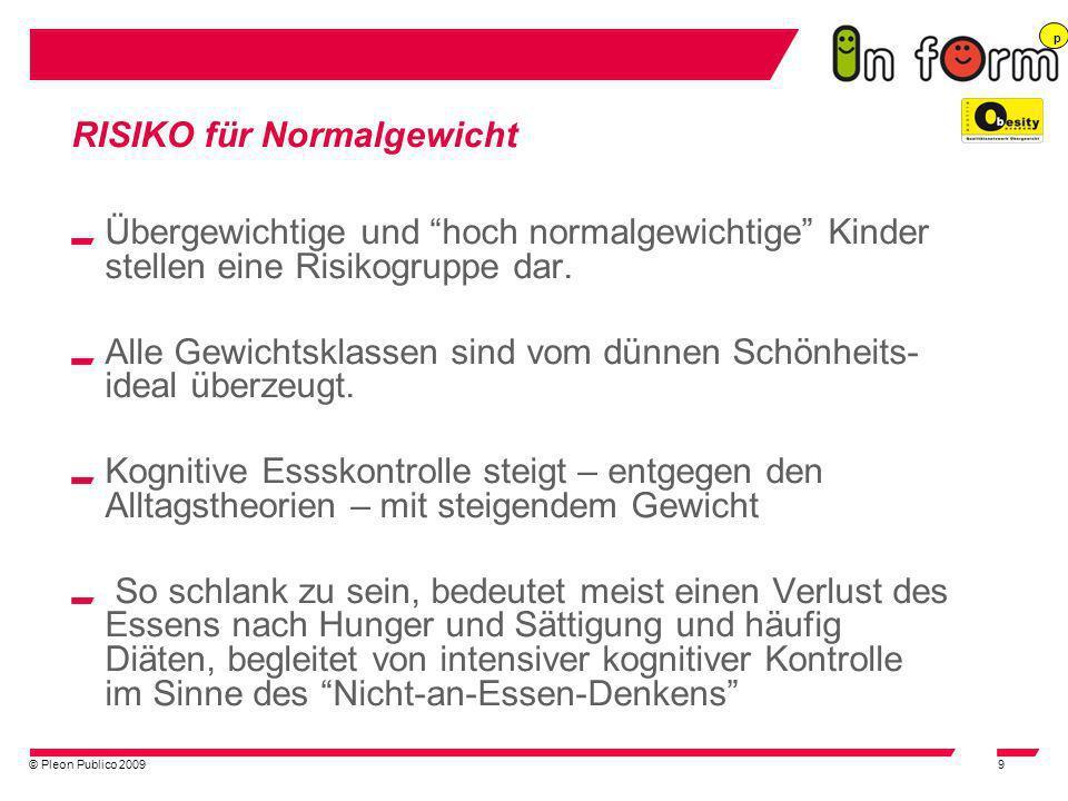 © Pleon Publico 20099 RISIKO für Normalgewicht Übergewichtige und hoch normalgewichtige Kinder stellen eine Risikogruppe dar. Alle Gewichtsklassen sin