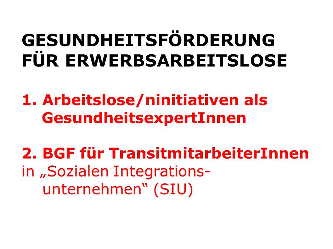 GESUNDHEITSFÖRDERUNG FÜR ERWERBSARBEITSLOSE 1. Arbeitslose/ninitiativen als GesundheitsexpertInnen 2. BGF für TransitmitarbeiterInnen in Sozialen Inte