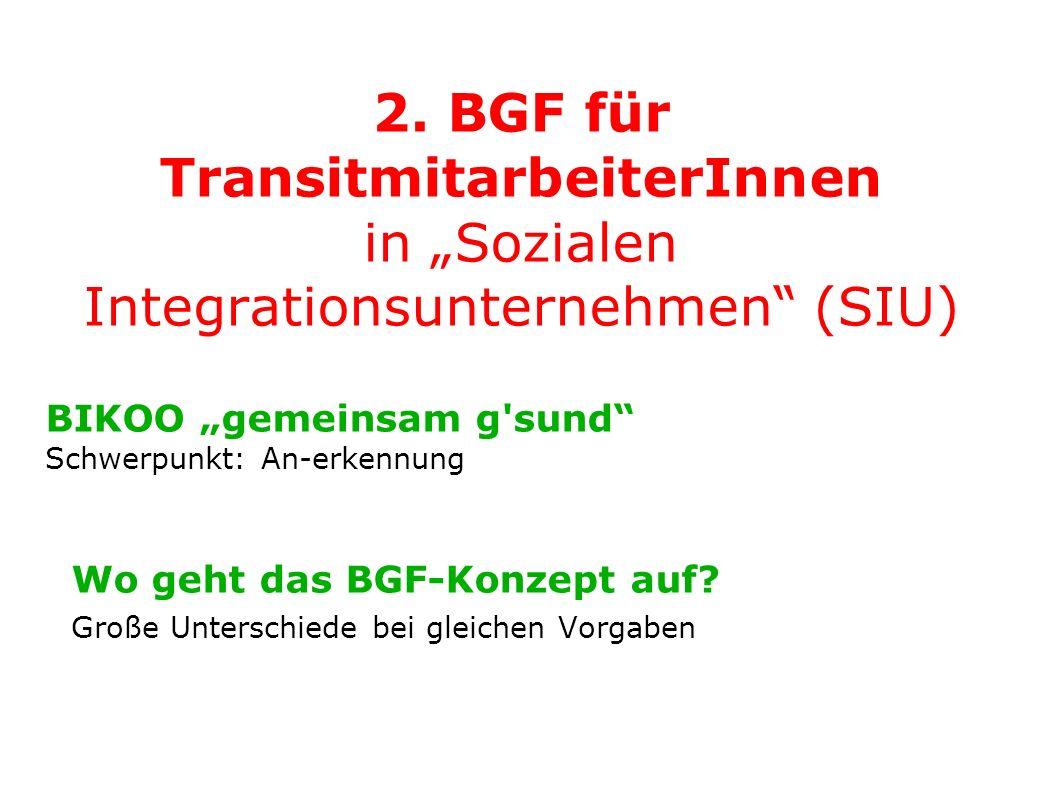 2. BGF für TransitmitarbeiterInnen in Sozialen Integrationsunternehmen (SIU) BIKOO gemeinsam g'sund Schwerpunkt: An-erkennung Wo geht das BGF-Konzept