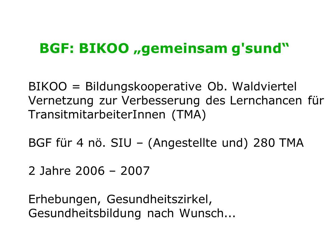BGF: BIKOO gemeinsam g'sund BIKOO = Bildungskooperative Ob. Waldviertel Vernetzung zur Verbesserung des Lernchancen für TransitmitarbeiterInnen (TMA)