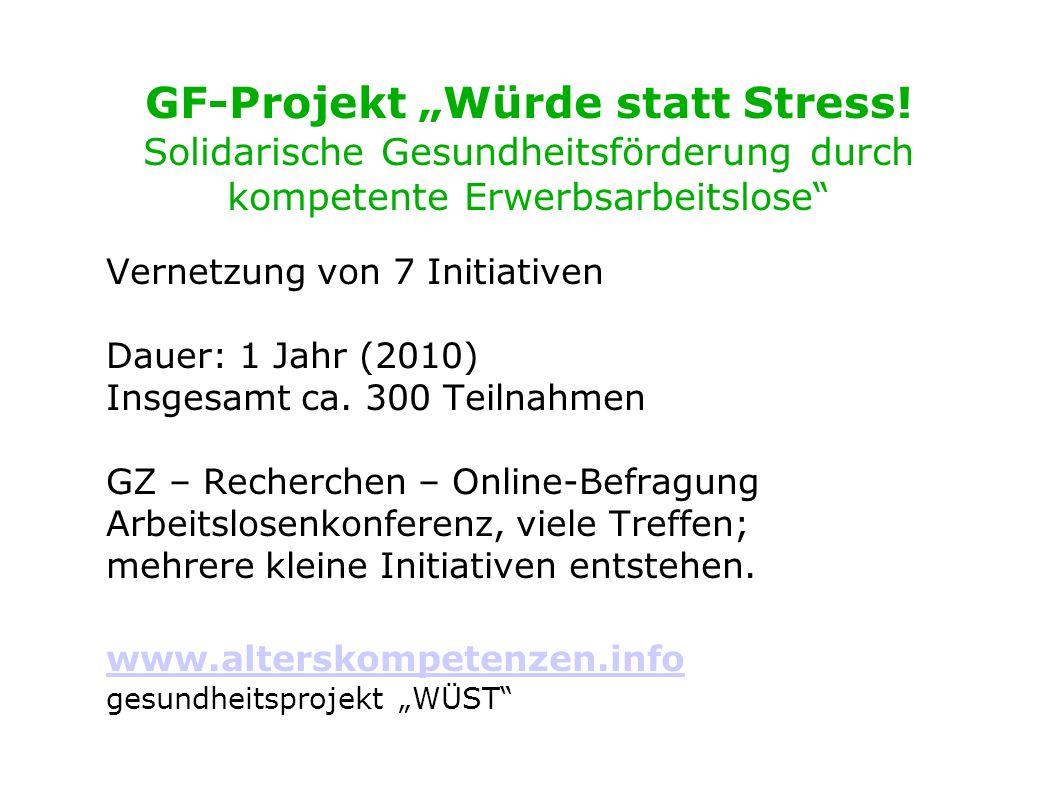 GF-Projekt Würde statt Stress! Solidarische Gesundheitsförderung durch kompetente Erwerbsarbeitslose Vernetzung von 7 Initiativen Dauer: 1 Jahr (2010)