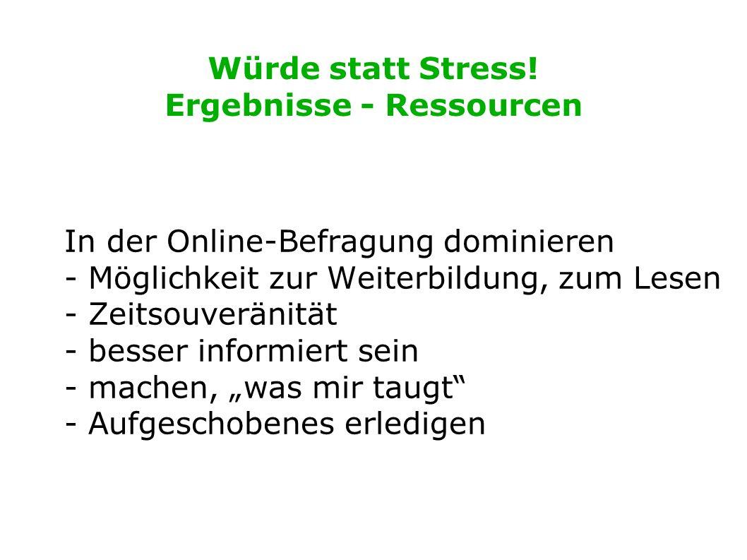 Würde statt Stress! Ergebnisse - Ressourcen In der Online-Befragung dominieren - Möglichkeit zur Weiterbildung, zum Lesen - Zeitsouveränität - besser