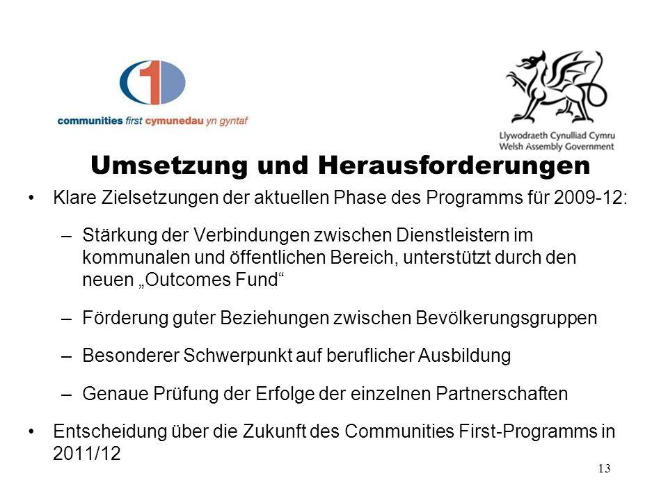 13 Klare Zielsetzungen der aktuellen Phase des Programms für 2009-12: –Stärkung der Verbindungen zwischen Dienstleistern im kommunalen und öffentliche