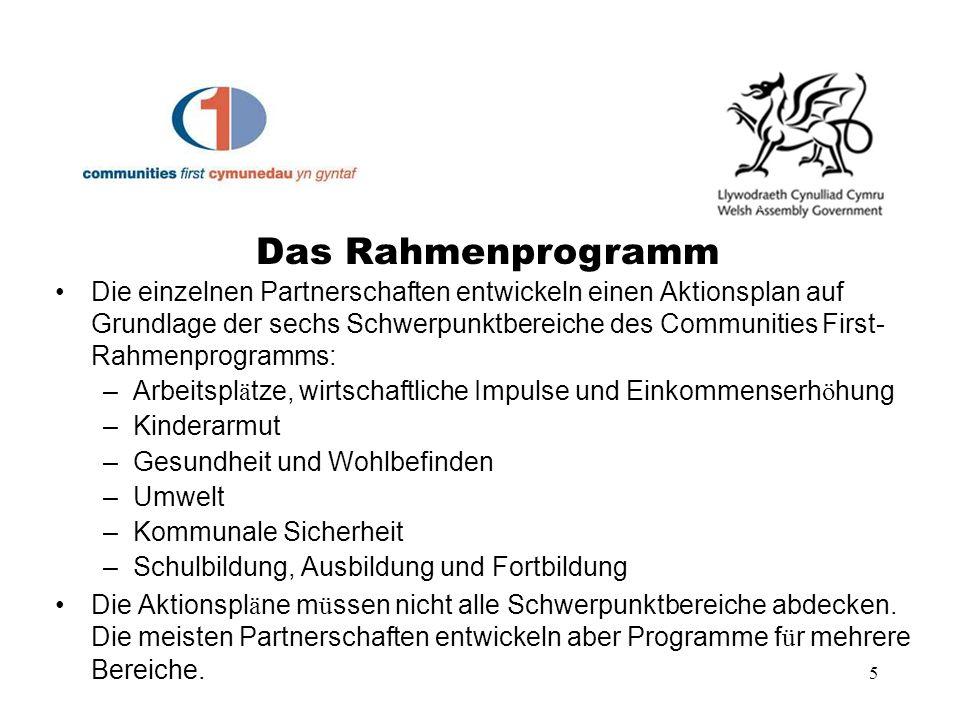 5 Die einzelnen Partnerschaften entwickeln einen Aktionsplan auf Grundlage der sechs Schwerpunktbereiche des Communities First- Rahmenprogramms: –Arbe