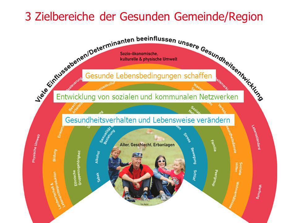 3 Zielbereiche der Gesunden Gemeinde/Region Gesunde Lebensbedingungen schaffen Entwicklung von sozialen und kommunalen Netzwerken Gesundheitsverhalten und Lebensweise verändern