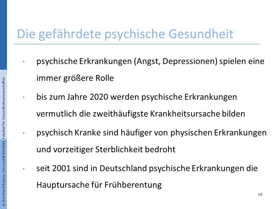 © Bernhard Badura, Universität Bielefeld, Fakultät für Gesundheitswissenschaften Die gefährdete psychische Gesundheit psychische Erkrankungen (Angst,