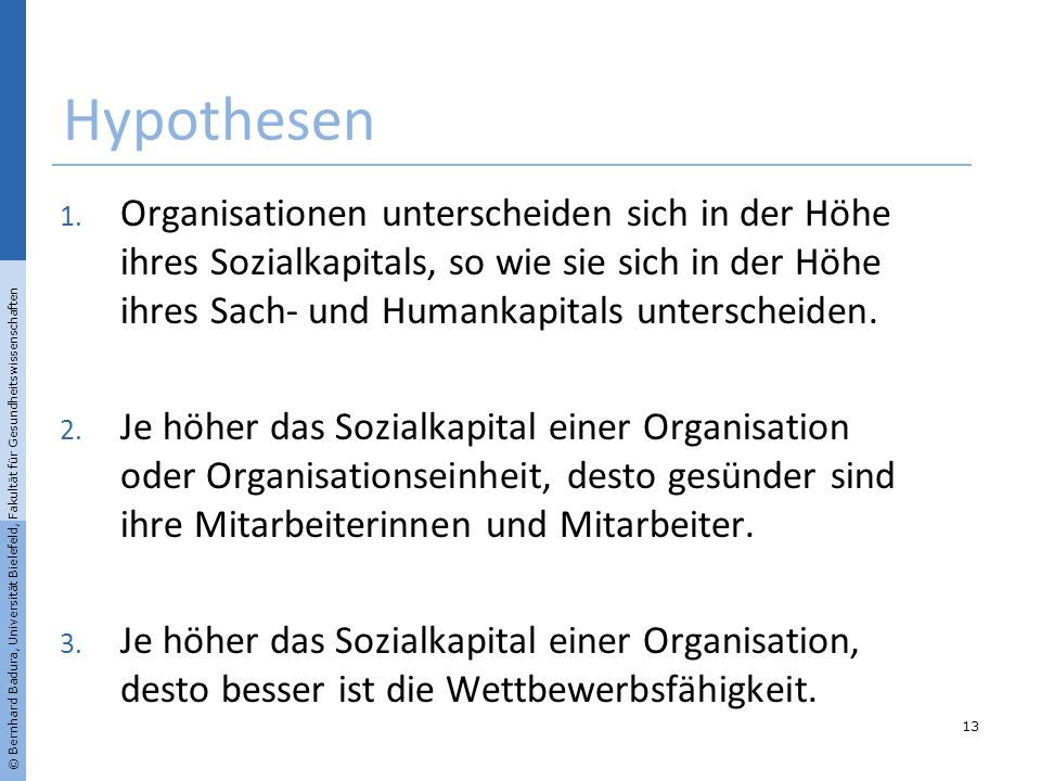 Hypothesen 13 1. Organisationen unterscheiden sich in der Höhe ihres Sozialkapitals, so wie sie sich in der Höhe ihres Sach- und Humankapitals untersc