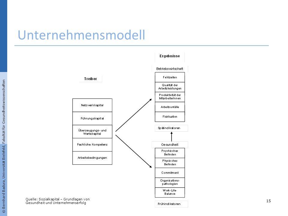 © Bernhard Badura, Universität Bielefeld, Fakultät für Gesundheitswissenschaften Unternehmensmodell 15 Quelle: Sozialkapital – Grundlagen von Gesundhe