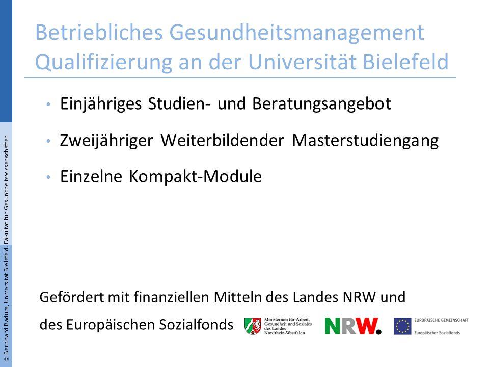 Betriebliches Gesundheitsmanagement Qualifizierung an der Universität Bielefeld Einjähriges Studien- und Beratungsangebot Zweijähriger Weiterbildender