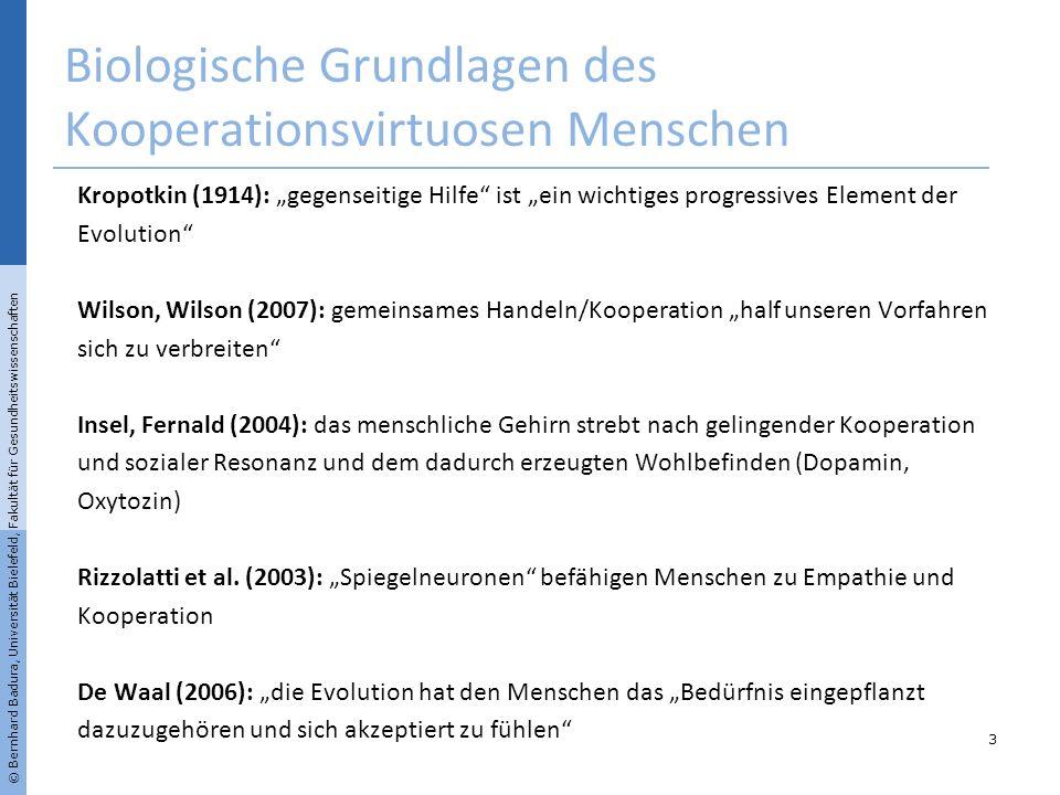 © Bernhard Badura, Universität Bielefeld, Fakultät für Gesundheitswissenschaften Biologische Grundlagen des Kooperationsvirtuosen Menschen Kropotkin (