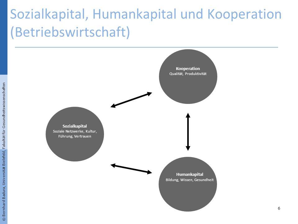 © Bernhard Badura, Universität Bielefeld, Fakultät für Gesundheitswissenschaften Sozialkapital, Humankapital und Kooperation (Betriebswirtschaft) 6 So