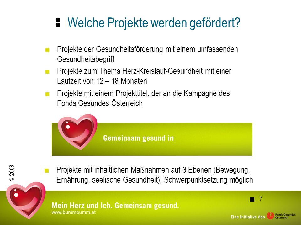 © 2008 8 Kostenrahmen Es ist ein Kostenrahmen vorgesehen, von dem der Fonds Gesundes Österreich 50% übernimmt.