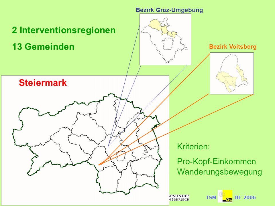 Lebenswerte Lebenswelten für ältere Menschen im Auftrag desISMBE 2006 Bezirk Graz-Umgebung Bezirk Voitsberg Kriterien: Pro-Kopf-Einkommen Wanderungsbewegung Steiermark 2 Interventionsregionen 13 Gemeinden