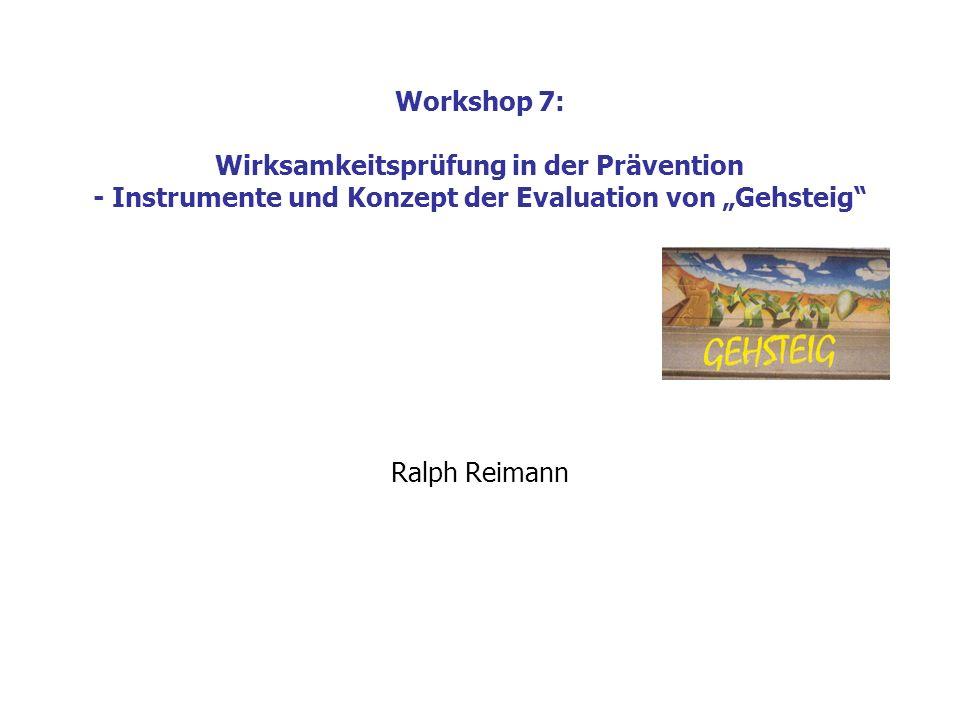 Workshop 7: Wirksamkeitsprüfung in der Prävention - Instrumente und Konzept der Evaluation von Gehsteig Inhalte 1) Theoretische Grundlagen des Evaluationskonzepts 2) Ablauf und Instrumente der Datenerhebung 3) Auswertung und Erfolgsdefinition