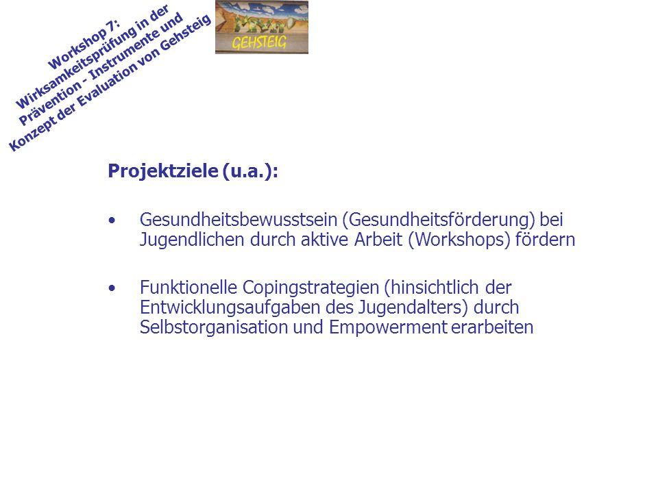 Workshop 7: Wirksamkeitsprüfung in der Prävention - Instrumente und Konzept der Evaluation von Gehsteig Projektziele (u.a.): Gesundheitsbewusstsein (G