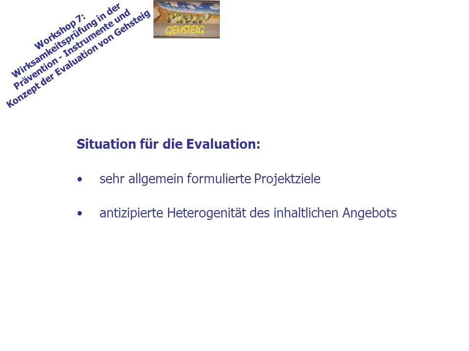 Workshop 7: Wirksamkeitsprüfung in der Prävention - Instrumente und Konzept der Evaluation von Gehsteig Situation für die Evaluation: sehr allgemein f