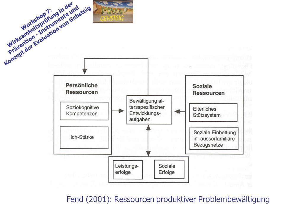 Workshop 7: Wirksamkeitsprüfung in der Prävention - Instrumente und Konzept der Evaluation von Gehsteig Fend (2001): Ressourcen produktiver Problembewältigung