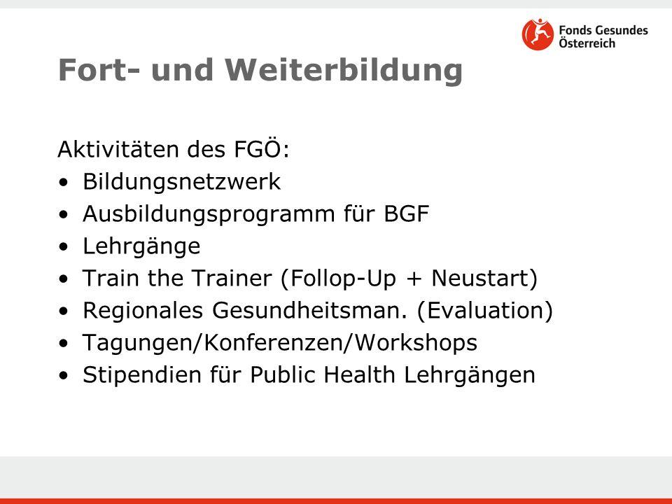Fort- und Weiterbildung Aktivitäten des FGÖ: Bildungsnetzwerk Ausbildungsprogramm für BGF Lehrgänge Train the Trainer (Follop-Up + Neustart) Regionales Gesundheitsman.