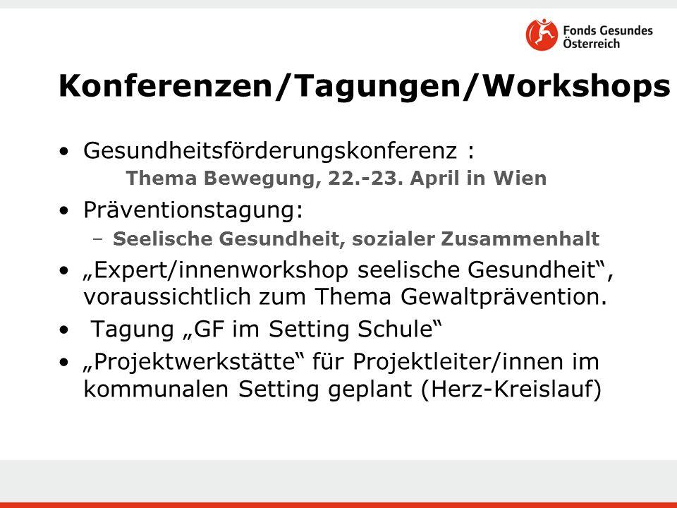 Konferenzen/Tagungen/Workshops Gesundheitsförderungskonferenz : Thema Bewegung, 22.-23.