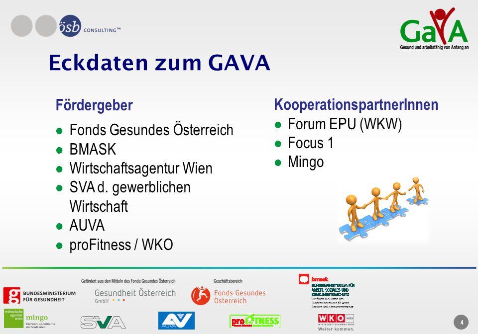 Gefördert aus Mitteln des Bundesministeriums für Arbeit, Soziales und Konsumentenschutz 4 Eckdaten zum GAVA Fördergeber Fonds Gesundes Österreich BMAS