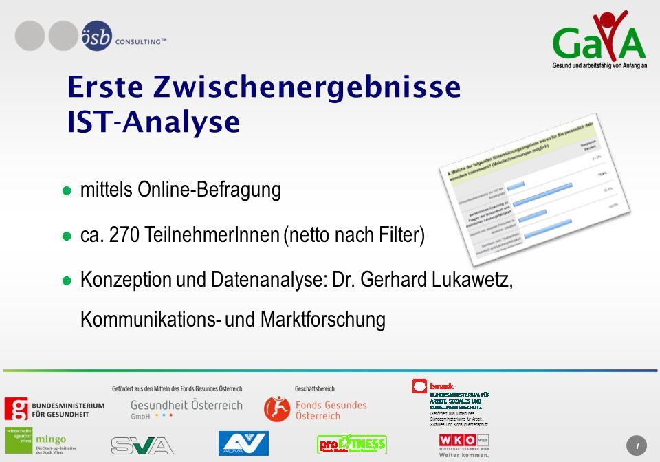 Gefördert aus Mitteln des Bundesministeriums für Arbeit, Soziales und Konsumentenschutz 7 Erste Zwischenergebnisse IST-Analyse mittels Online-Befragun