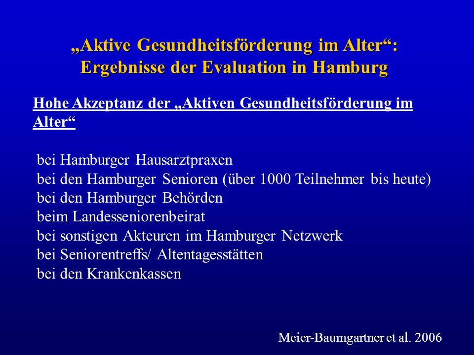 Hohe Akzeptanz der Aktiven Gesundheitsförderung im Alter bei Hamburger Hausarztpraxen bei den Hamburger Senioren (über 1000 Teilnehmer bis heute) bei