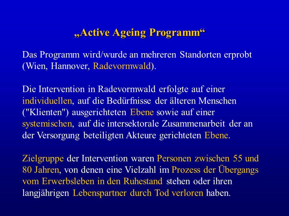 Das Programm wird/wurde an mehreren Standorten erprobt (Wien, Hannover, Radevormwald). Die Intervention in Radevormwald erfolgte auf einer individuell