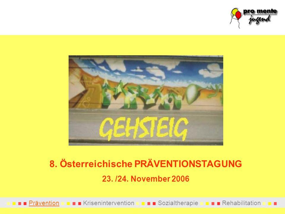Prävention Krisenintervention Sozialtherapie Rehabilitation 8. Österreichische PRÄVENTIONSTAGUNG 23. /24. November 2006