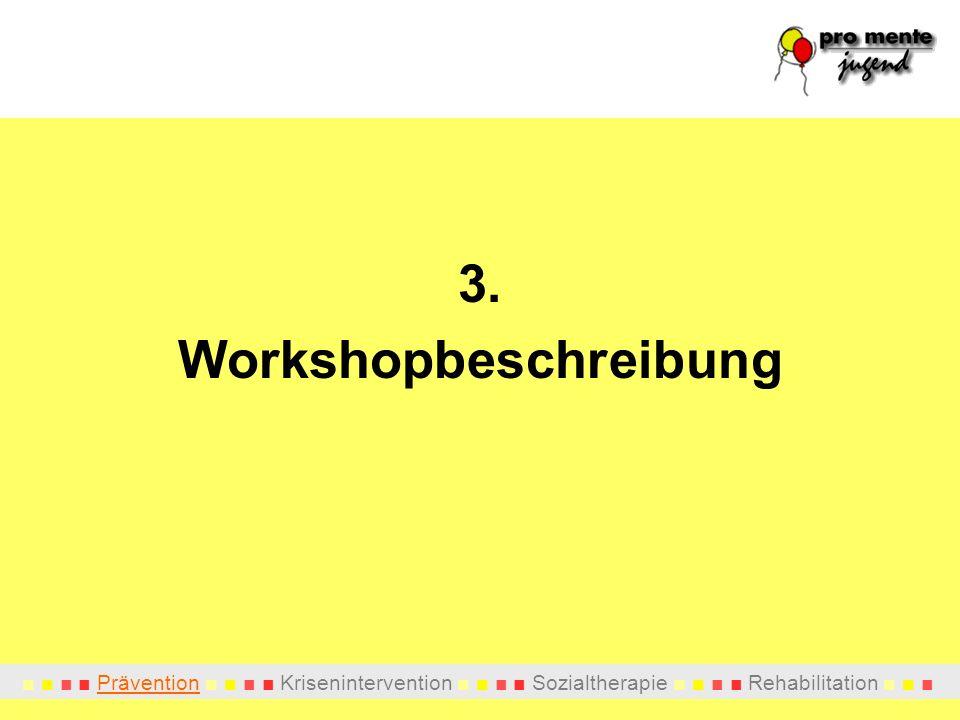 Prävention Krisenintervention Sozialtherapie Rehabilitation 3. Workshopbeschreibung