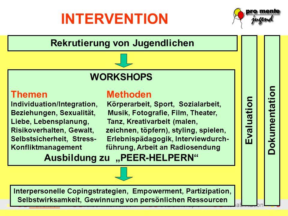 Prävention Krisenintervention Sozialtherapie Rehabilitation INTERVENTION Rekrutierung von Jugendlichen WORKSHOPS Themen Methoden Individuation/Integra