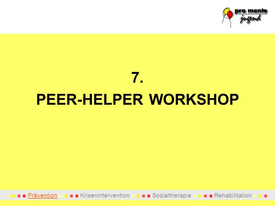 Prävention Krisenintervention Sozialtherapie Rehabilitation 7. PEER-HELPER WORKSHOP