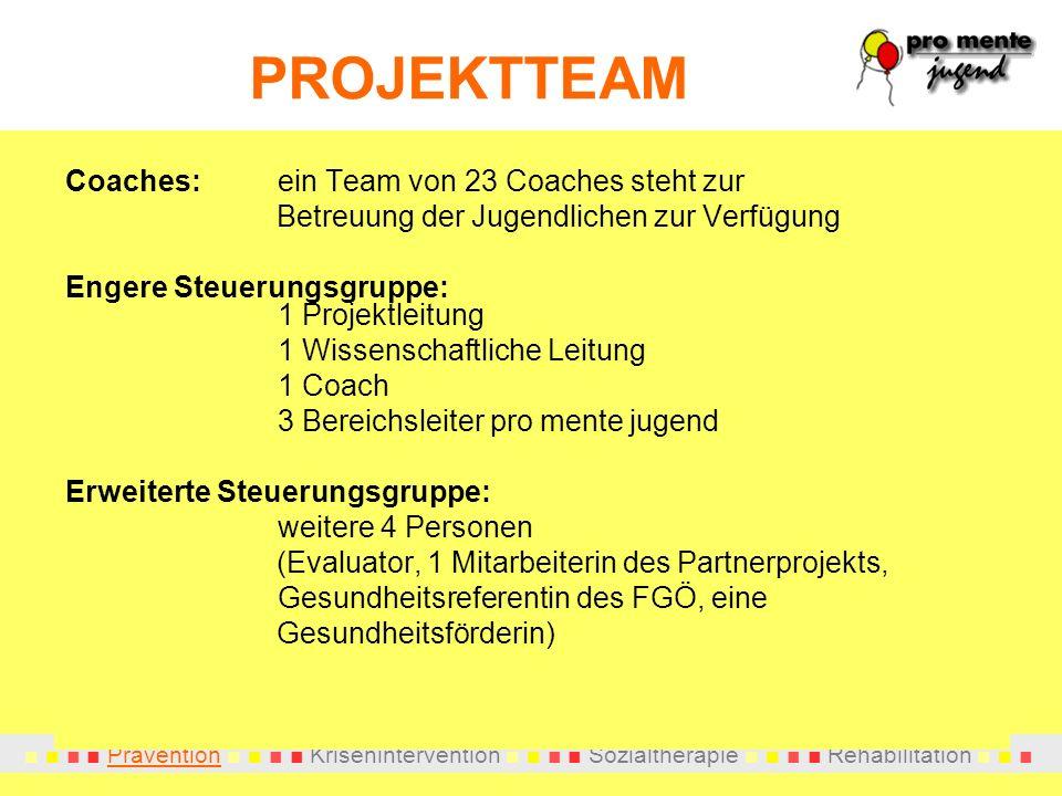 Prävention Krisenintervention Sozialtherapie Rehabilitation PROJEKTTEAM Coaches:ein Team von 23 Coaches steht zur Betreuung der Jugendlichen zur Verfü