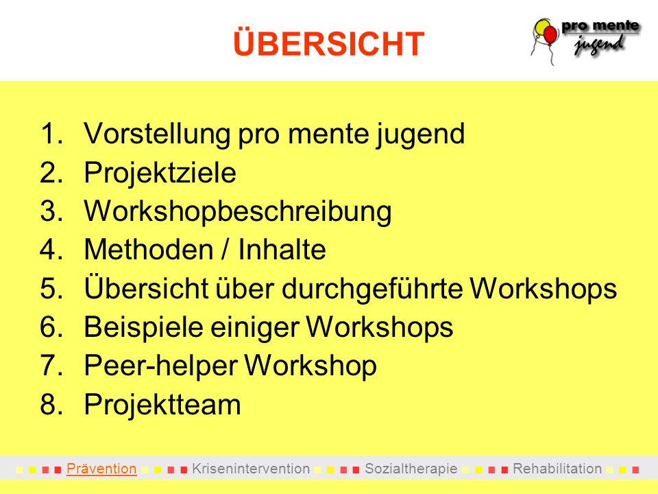 Prävention Krisenintervention Sozialtherapie Rehabilitation ÜBERSICHT 1.Vorstellung pro mente jugend 2.Projektziele 3.Workshopbeschreibung 4.Methoden