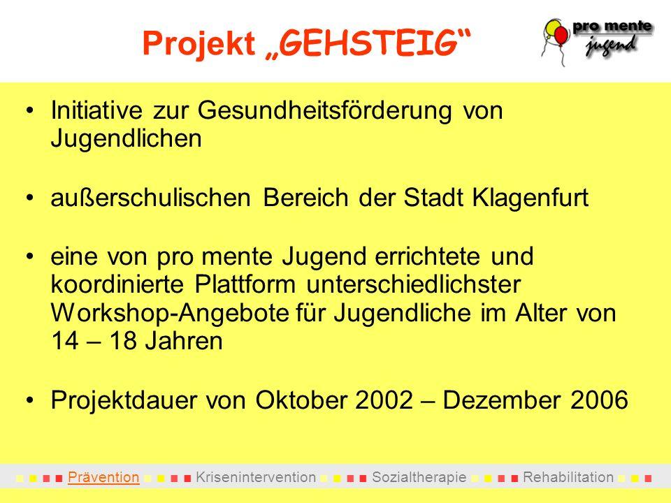 Projekt GEHSTEIG Initiative zur Gesundheitsförderung von Jugendlichen außerschulischen Bereich der Stadt Klagenfurt eine von pro mente Jugend errichtete und koordinierte Plattform unterschiedlichster Workshop-Angebote für Jugendliche im Alter von 14 – 18 Jahren Projektdauer von Oktober 2002 – Dezember 2006