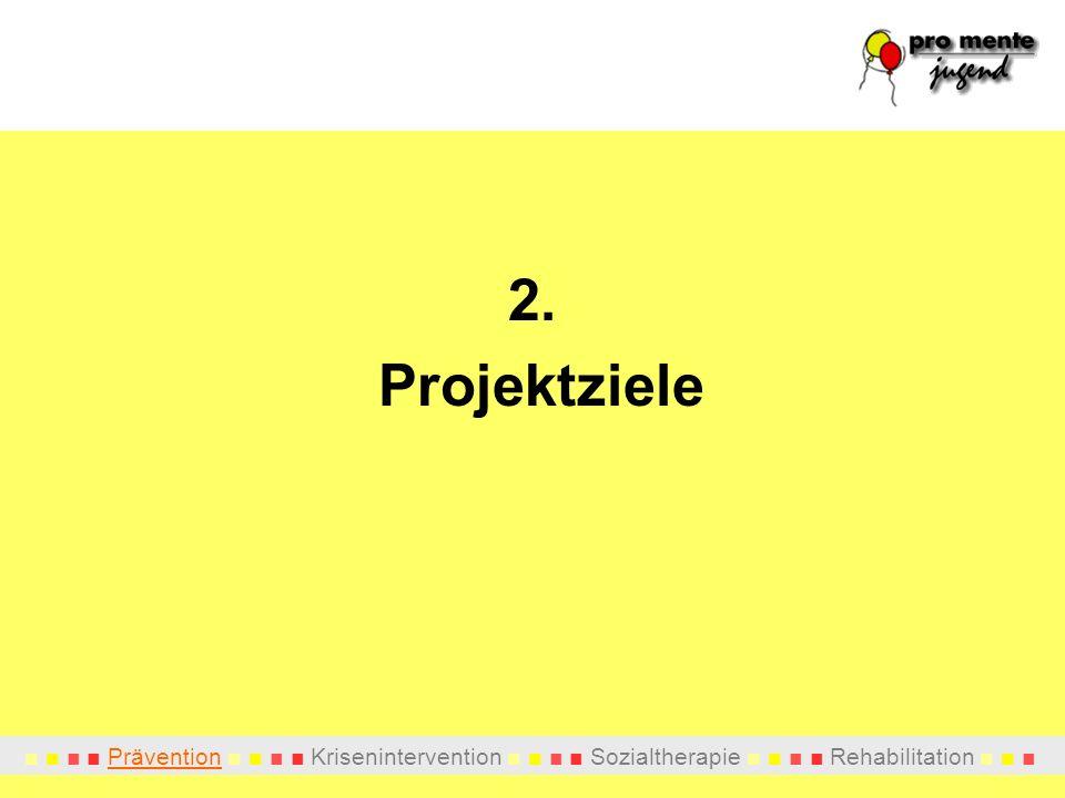 Prävention Krisenintervention Sozialtherapie Rehabilitation 2. Projektziele