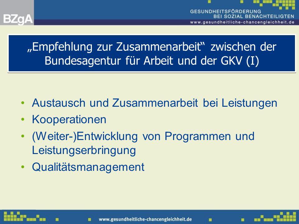 Austausch und Zusammenarbeit bei Leistungen Kooperationen (Weiter-)Entwicklung von Programmen und Leistungserbringung Qualitätsmanagement Empfehlung z