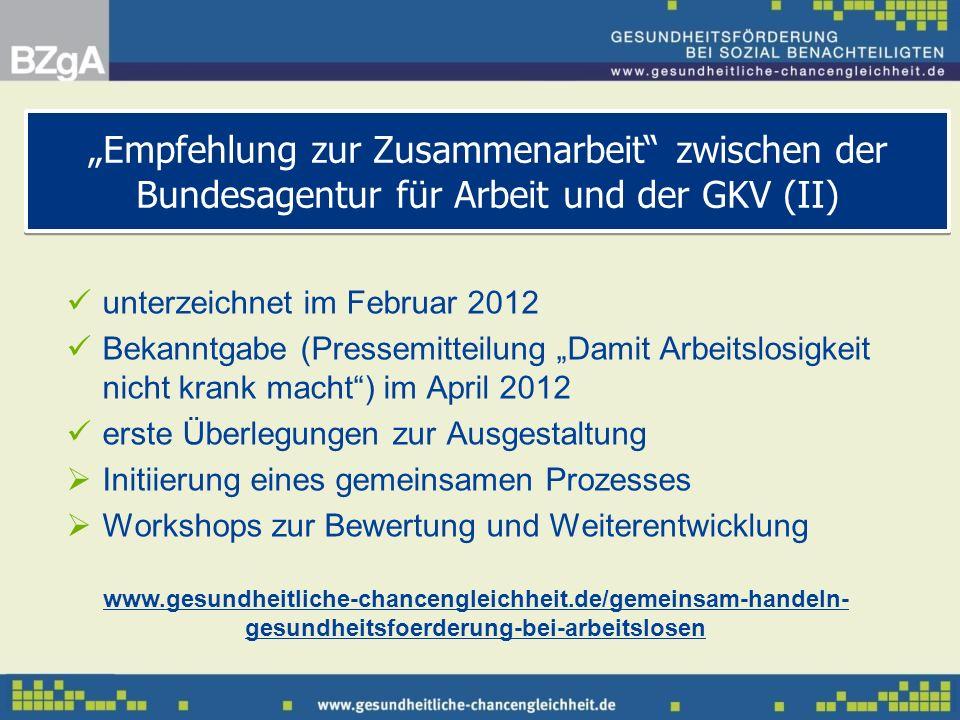unterzeichnet im Februar 2012 Bekanntgabe (Pressemitteilung Damit Arbeitslosigkeit nicht krank macht) im April 2012 erste Überlegungen zur Ausgestaltu