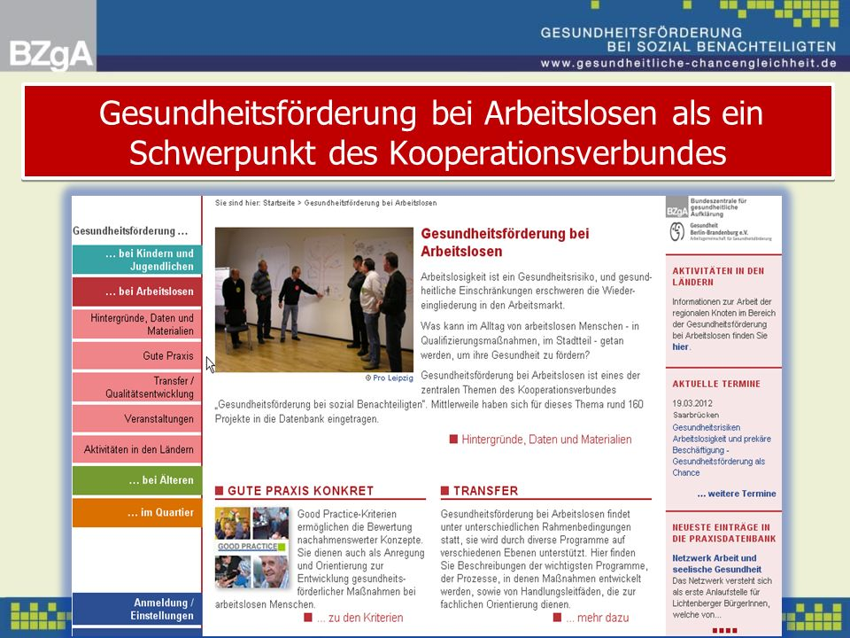 Gesundheitsförderung bei Arbeitslosen als ein Schwerpunkt des Kooperationsverbundes