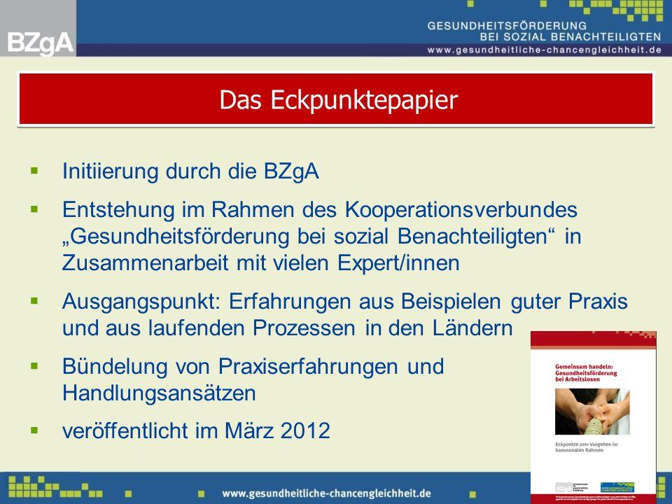 Initiierung durch die BZgA Entstehung im Rahmen des Kooperationsverbundes Gesundheitsförderung bei sozial Benachteiligten in Zusammenarbeit mit vielen