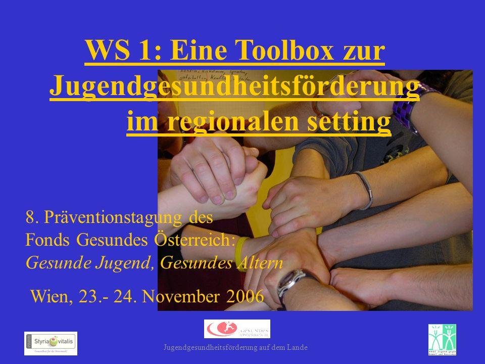 WS 1: Eine Toolbox zur Jugendgesundheitsförderung im regionalen setting 8. Präventionstagung des Fonds Gesundes Österreich: Gesunde Jugend, Gesundes A