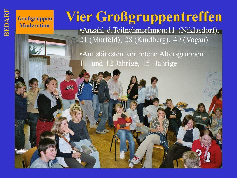Großgruppen Moderation Anzahl d.TeilnehmerInnen:11 (Niklasdorf), 21 (Murfeld), 28 (Kindberg), 49 (Vogau) Am stärksten vertretene Altersgruppen: 11- un