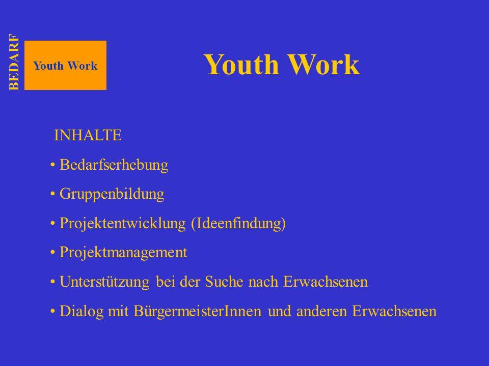 Youth Work INHALTE Bedarfserhebung Gruppenbildung Projektentwicklung (Ideenfindung) Projektmanagement Unterstützung bei der Suche nach Erwachsenen Dia