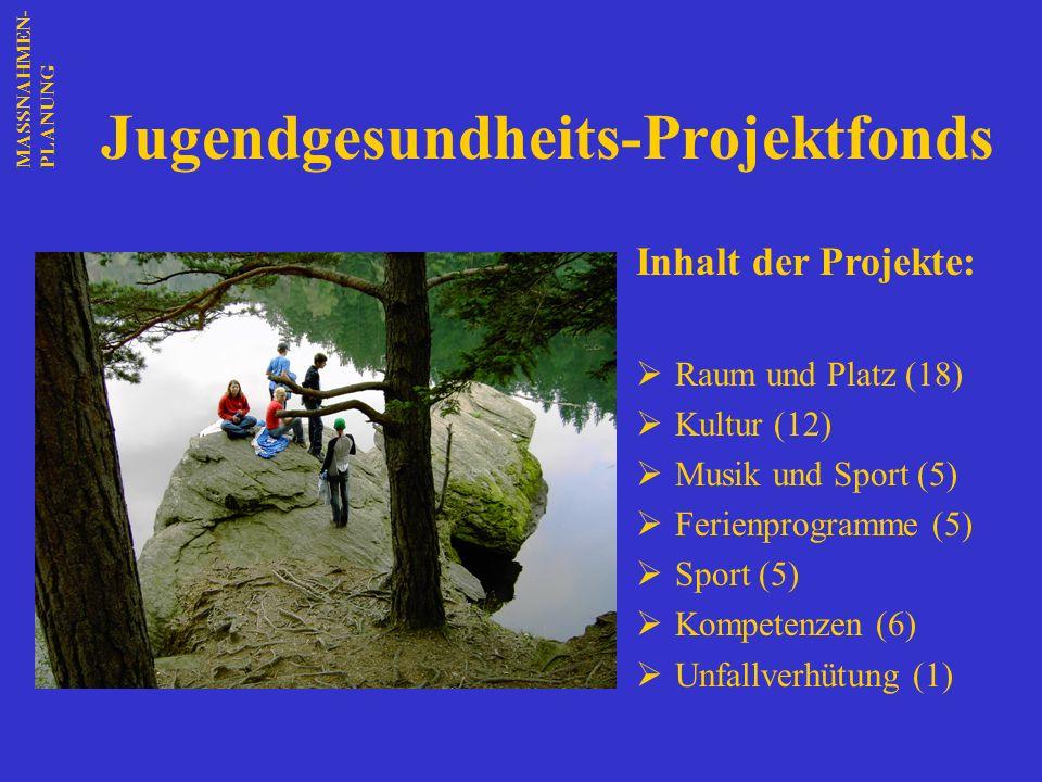 Jugendgesundheits-Projektfonds Inhalt der Projekte: Raum und Platz (18) Kultur (12) Musik und Sport (5) Ferienprogramme (5) Sport (5) Kompetenzen (6)