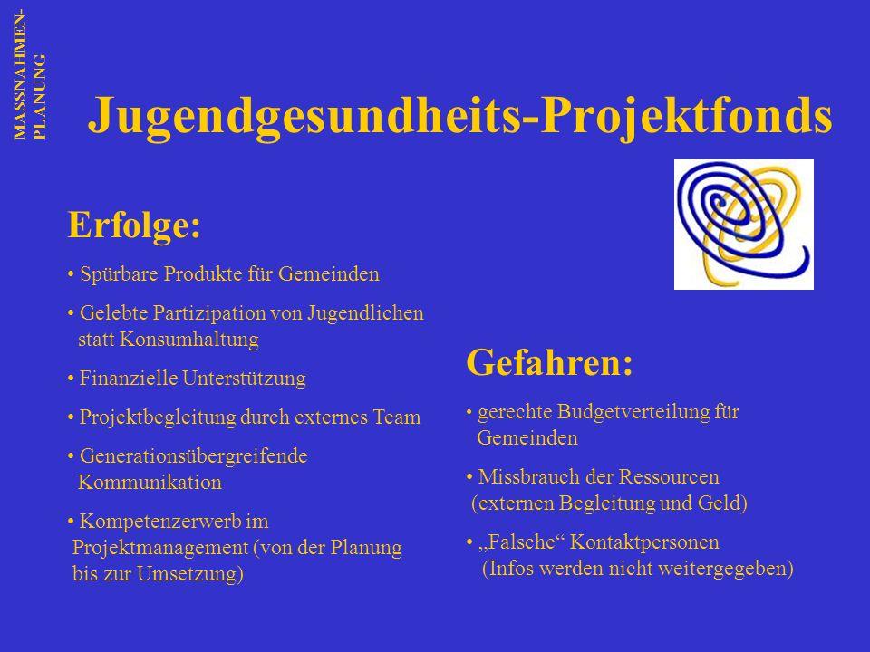 Jugendgesundheits-Projektfonds Erfolge: Spürbare Produkte für Gemeinden Gelebte Partizipation von Jugendlichen statt Konsumhaltung Finanzielle Unterst